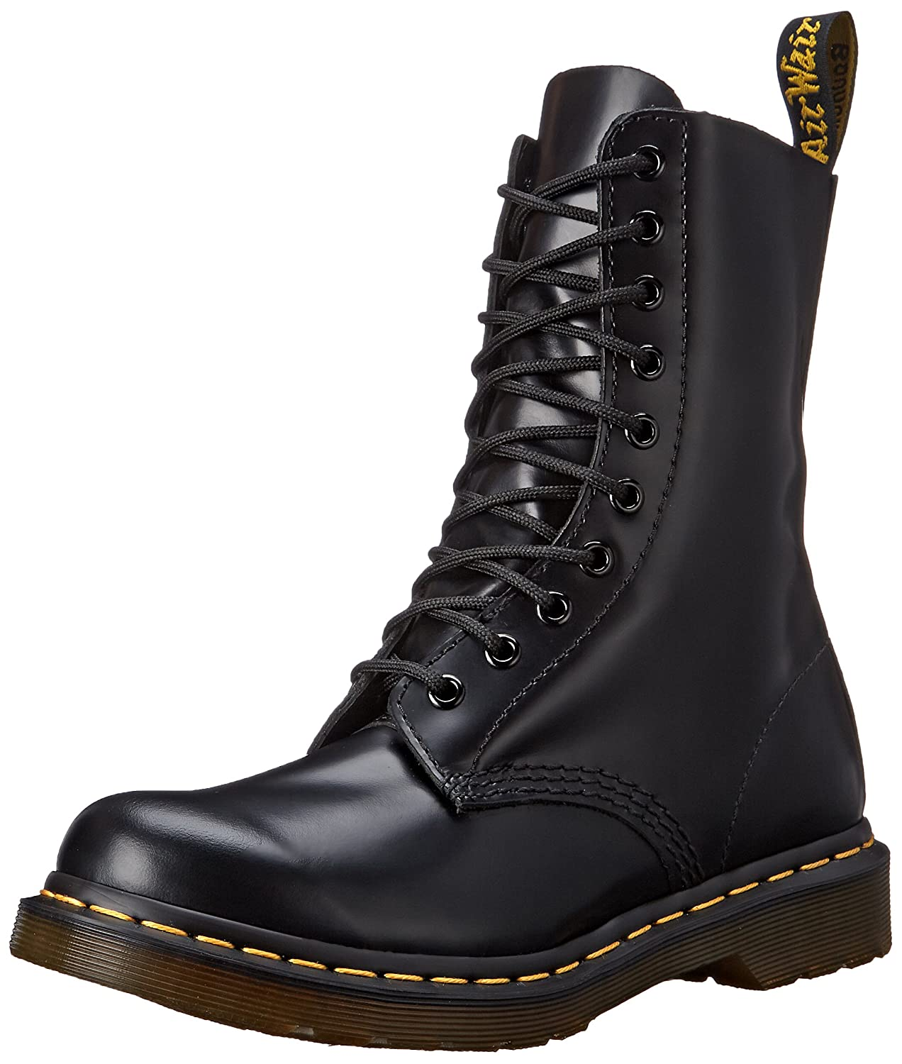 Dr. Martens Women's 1490 W 10 Eye Boot B000NYDUXC 8 UK/10 M US|Black Smooth