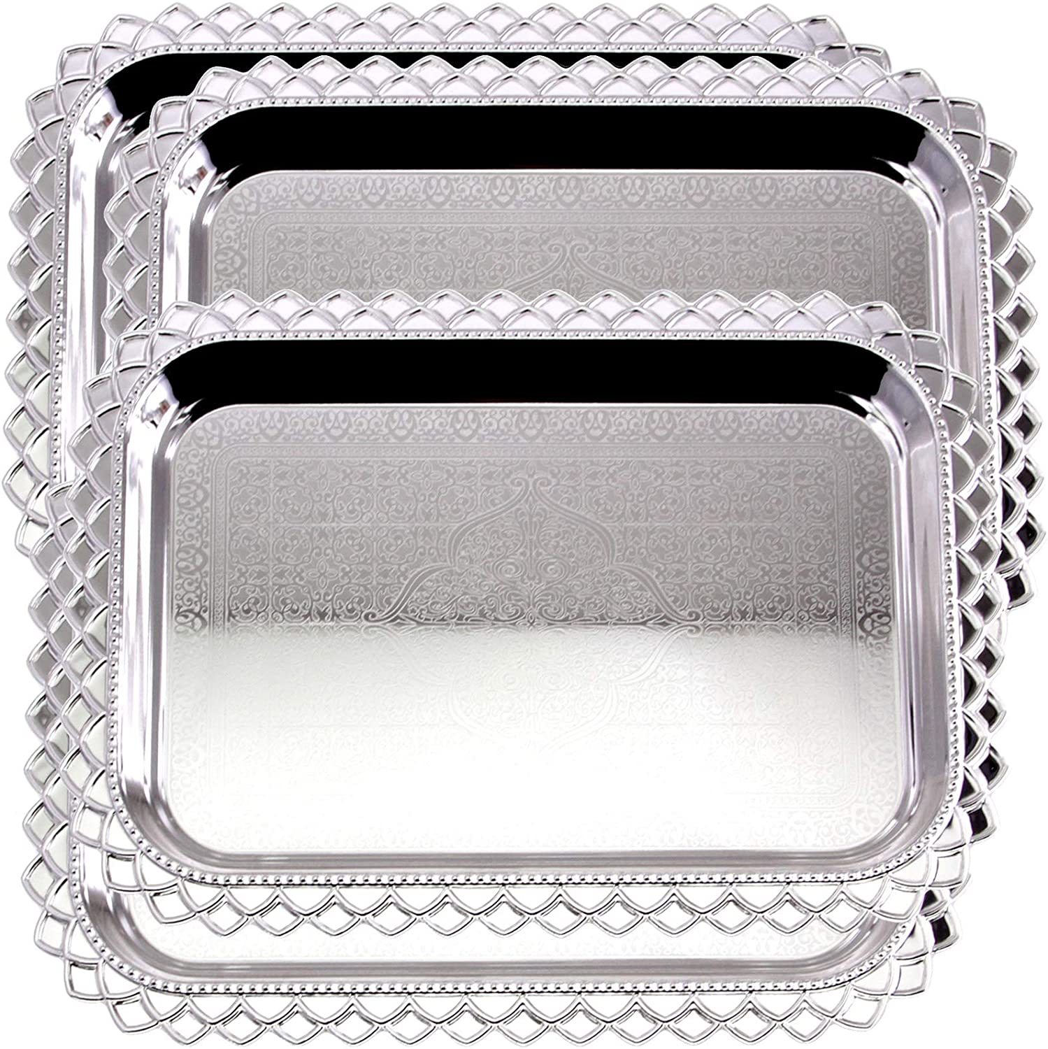 Maro Megastore (Pack of 4) 16.5 Inch x 11.8 Inch Oblong Chrome Plated Mirror Serving Tray Stylish Design Floral Engraved Edge Decorative Party Birthday Wedding Dessert Buffet Wine Platter Plate CC-901