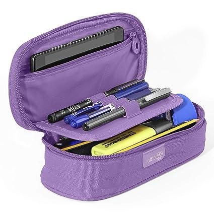 PracticOffice - Estuche Multiuso Megapak Oval para Material Escolar, Neceser de Viaje o Maquillaje. Medida 22 cm. Color Violeta