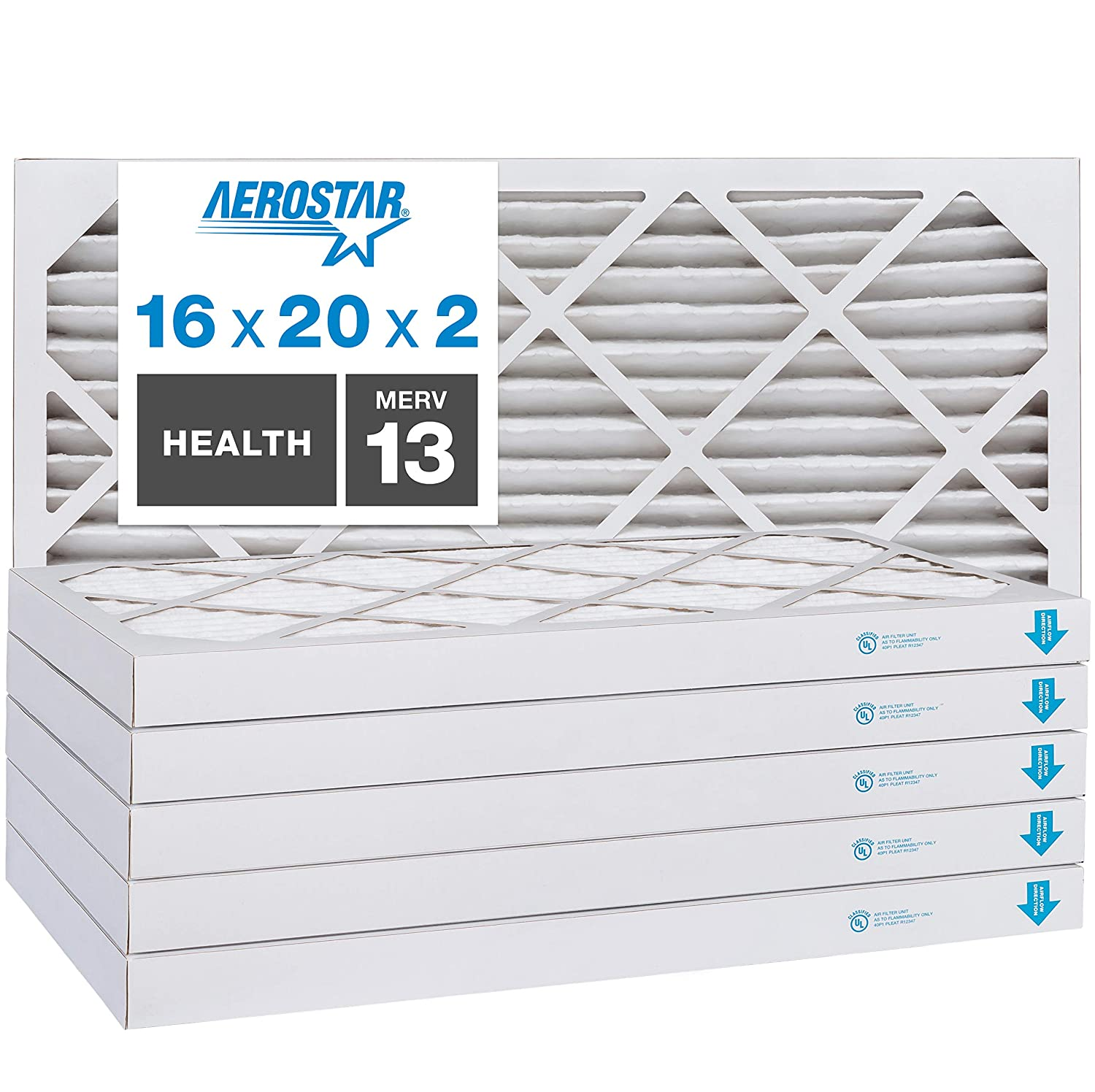 Aerostar Home Max 16x20x2 MERV 13 Pleated Air Filter, Made in the USA, 6-Pack