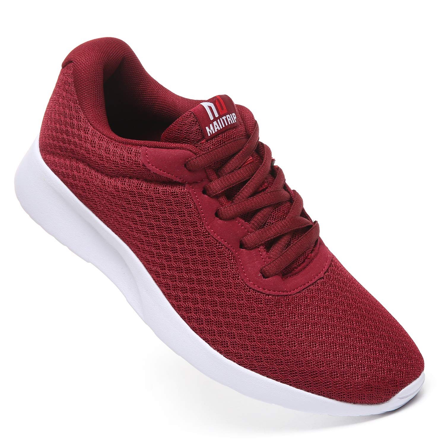 MAITRIP Mens Gym Shoes,Athletic Running Shoes,Lightweight Breathable Mesh Casual Tennis Sports Workout Walking Sneakers,Wine Red,Size 7