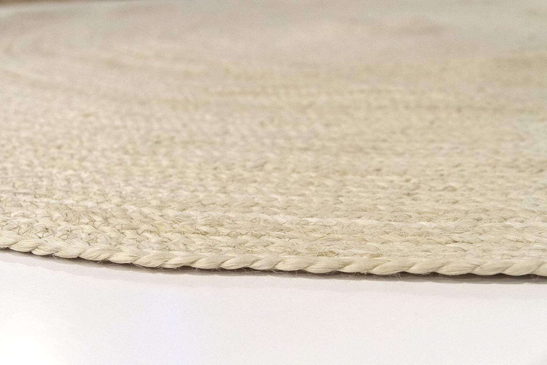 100x100cm HAMID Alfombra Yute Alhambra Color Semi Blanco Alfombra Redonda 100/% Fibra de Yute