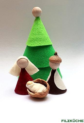 Weihnachtskrippe Modern.Weihnachtskrippe Heilige Familie Filz Natur Deko Modern Amazon De