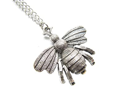 Amazon antique silver large bee necklace honeybee necklace antique silver large bee necklace honeybee necklace bee pendant necklace bee charm necklace aloadofball Images