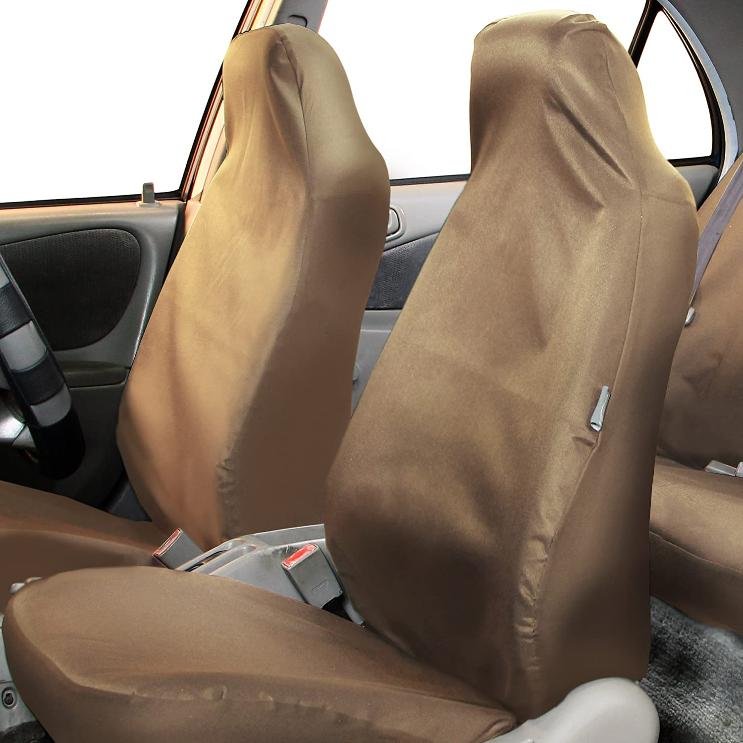 FH Group FB113BLACK114 Black Rugged Oxford Waterproof Car Seat Covers Full Set High Back-Water Resistant