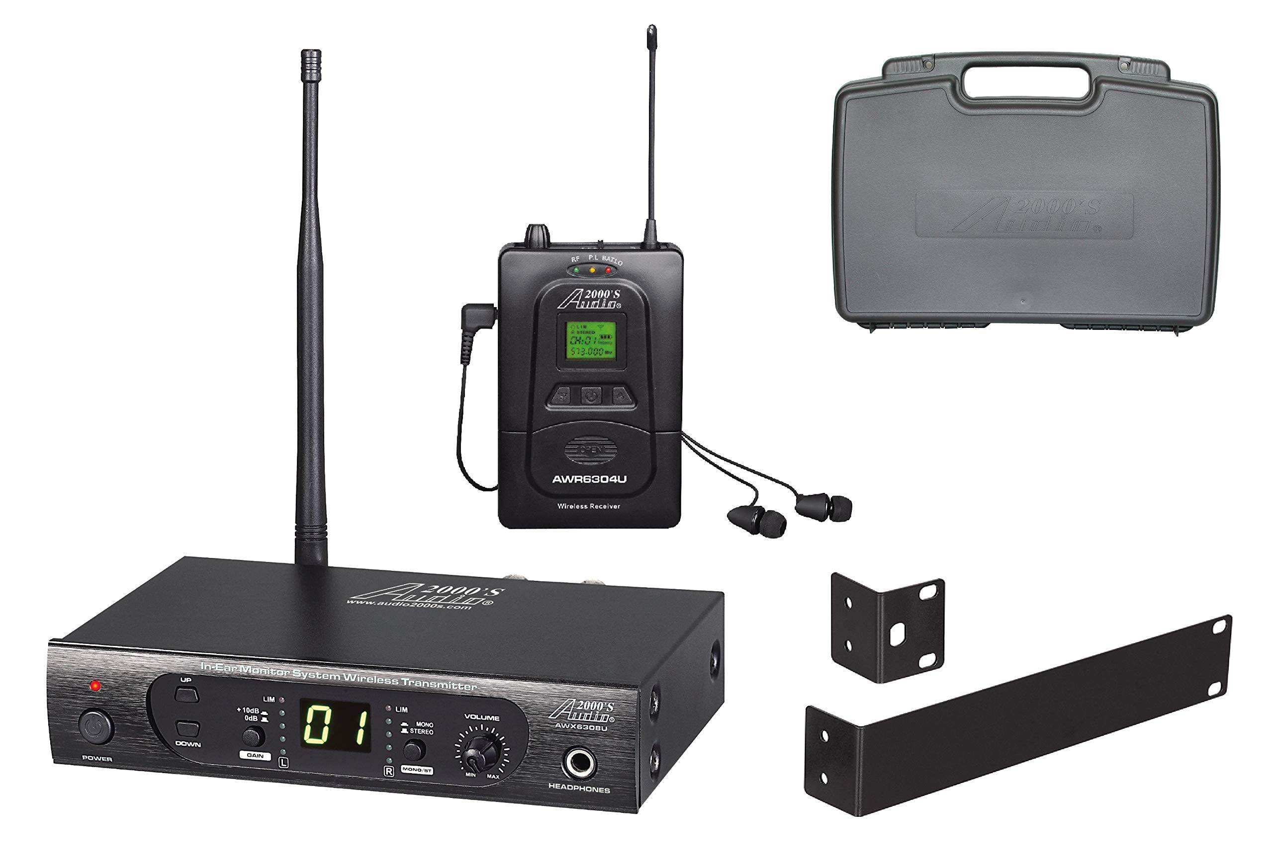 Audio2000'S AWM6308U UHF 100 Selectable Frequency Wireless In-Ear Monitor System with a PVC Carrying Case by Audio 2000S