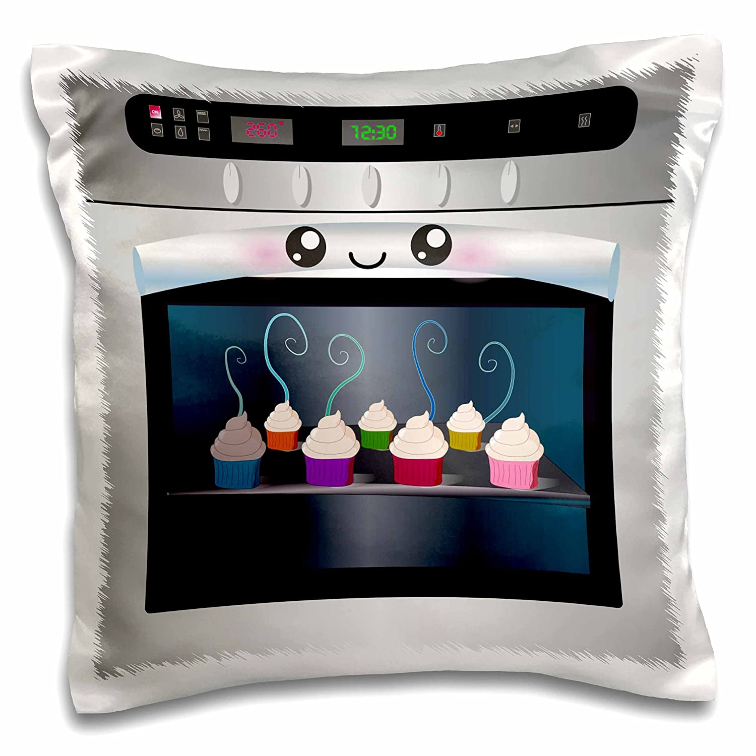 """3dRose pc_58309_1 Cute Kawaii Happy Smiling Oven Filled with Baking Cupcakes-for Chefs Foodies and Cooking Fans-Pillow Case, 16 by 16"""""""