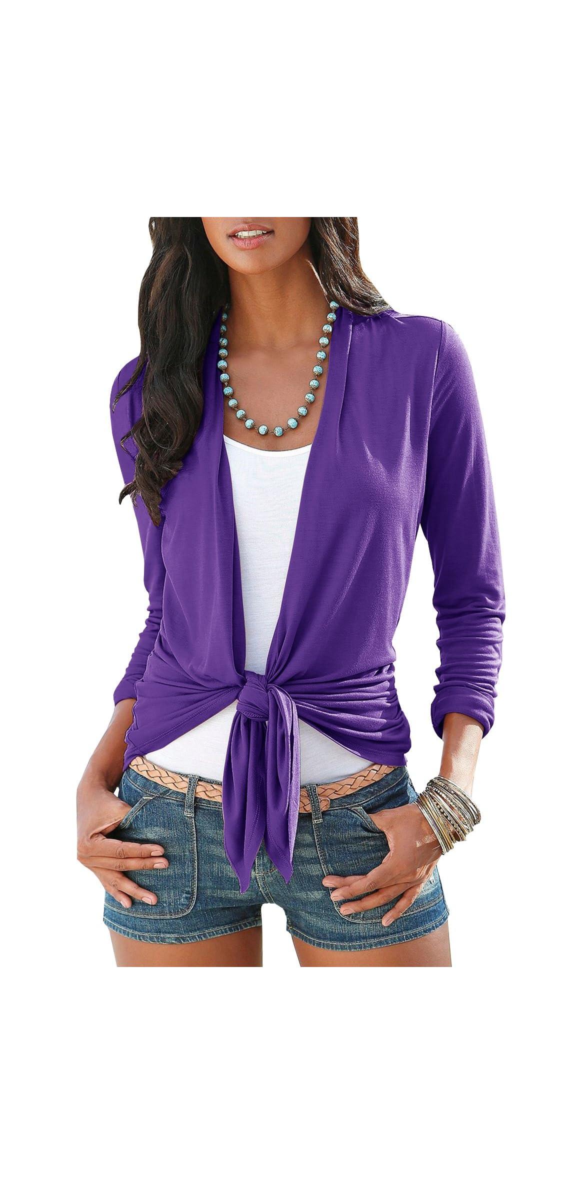 Womens Cardigans Long Sleeve Open Front Light Shawls Kimonos Tie