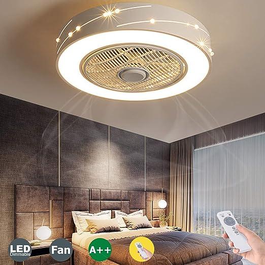 LED Deckenventilator Holz Deckenleuchte Mit Fernbedienung Dimmbar L/üfter Fan Deckenlampe Schlafzimmer Moderne Decken Licht Runden Acryl Ventilator Lampe Kinderzimmer Beleuchtung Kronleuchter Black