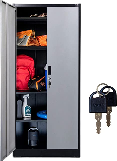 Amazon Com Fedmax Storage Cabinet With Doors And Shelves 71 Tall W Locks Adjustable Shelving Metal Utility Cabinet For Garage Office Classroom Kitchen Pantry 70 86 L X 31 5 W X