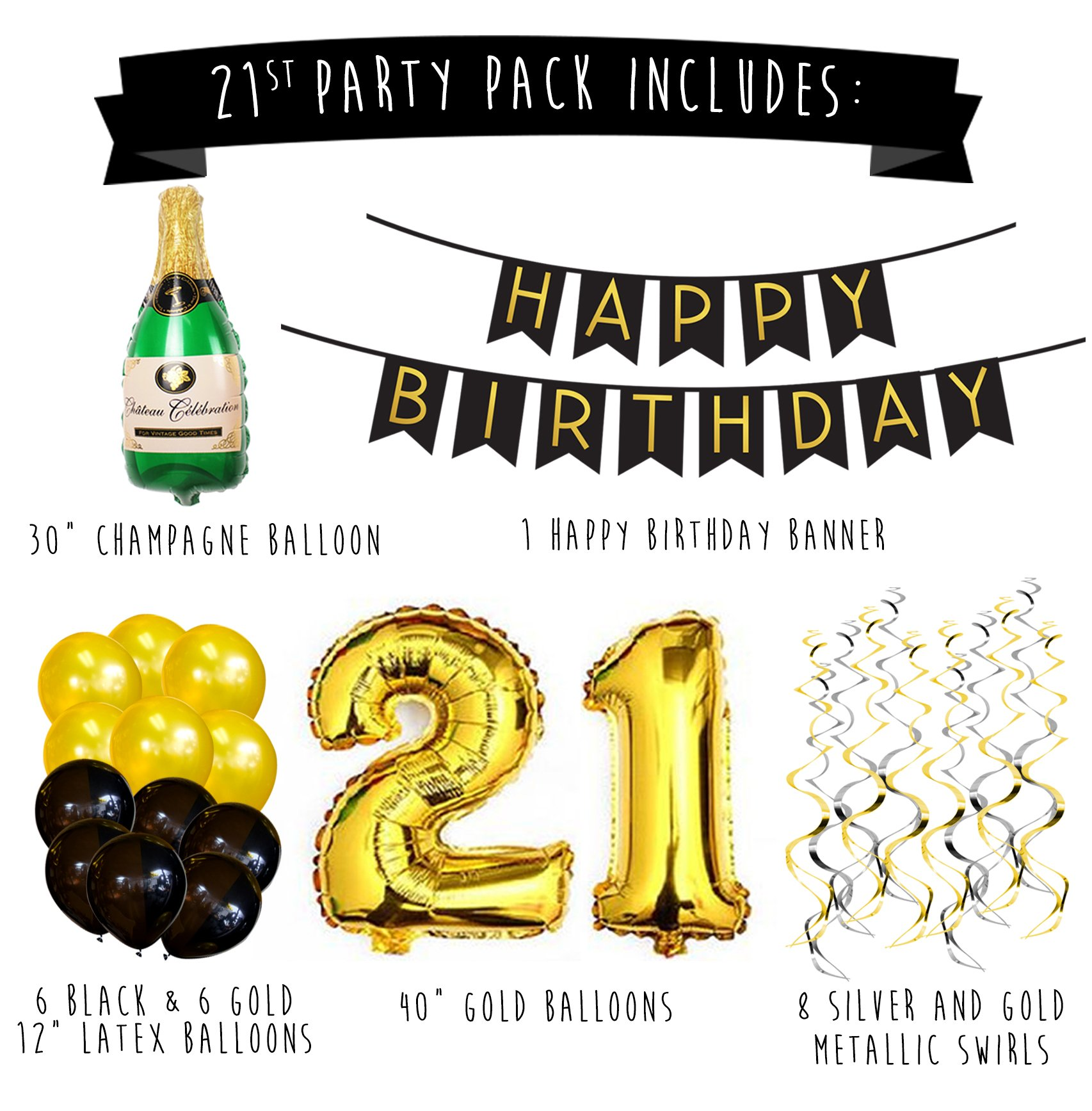 21st Birthday Party Pack Black Gold Happy Bunting Poms And Swirls Decorations