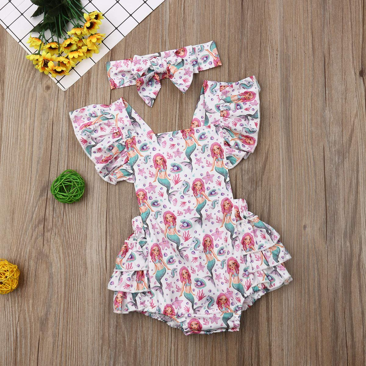Baby Girls Mermaid Rompers Strap Ruffle Sleeves Backless Summer Party Beach Wear Bodysuit Outfits Clothes with Headband