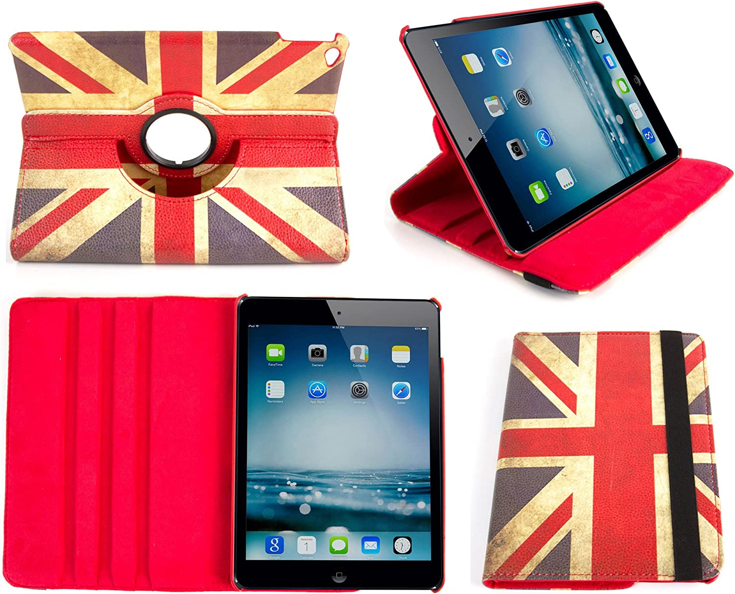 "DURAGADGET Apple iPad Air 2 Case - 'Union Jack' Print 360° Rotating Folio Case with Kick-Stand in Faux Leather for Apple iPad Air 2 (2015 ed, WiFi, LTE, 3G, 16GB, 32GB, 64GB, 9.7"", A8X)"