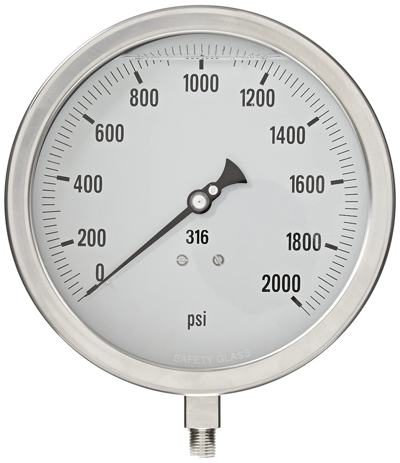 30//0//150 psi Range Removable Stainless Steel Bezel Bottom Mount Glycerine Filled Process Pressure Gauge with a Stainless Steel Case and Internals PIC Gauge 6001-2LCF-GF 6 Dial 1//2 Male NPT Connection Size and Laminated Safety Glass Lens