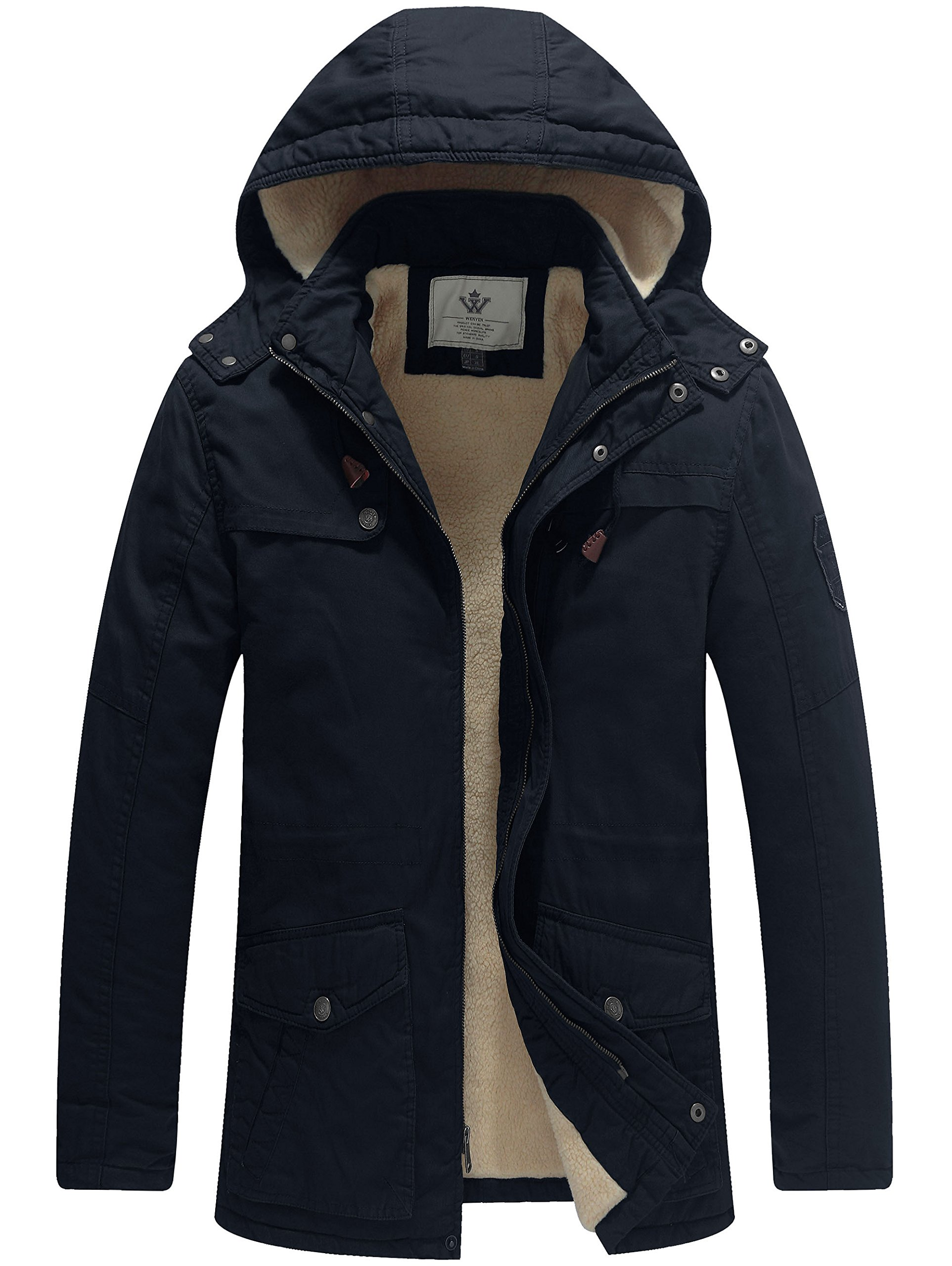 WenVen Men's Winter Washed Cotton Sherpa Lined Parka Jacket(Navy,Large) by WenVen