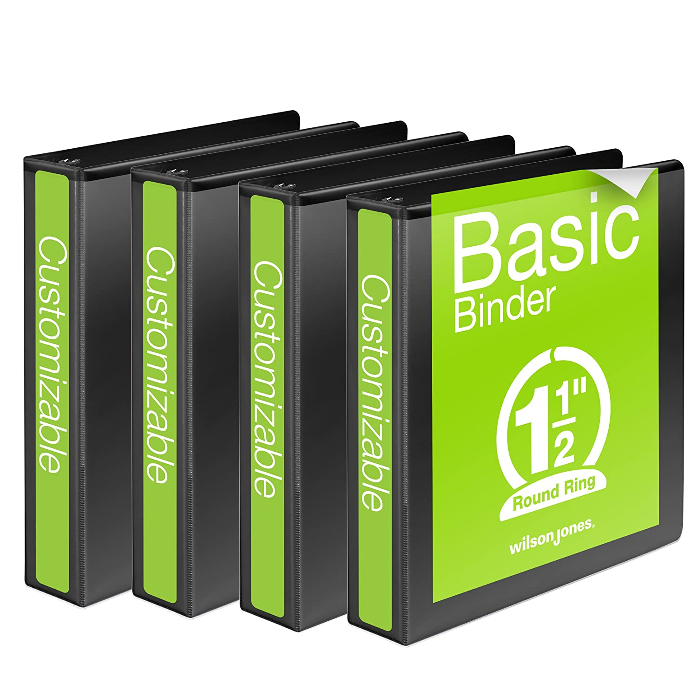 Wilson Jones Round Ring View Binder, 1 Inch, Basic, 362 Series, Customizable, Black, 4 Pack (W70362-14BPP) ACCO Brands