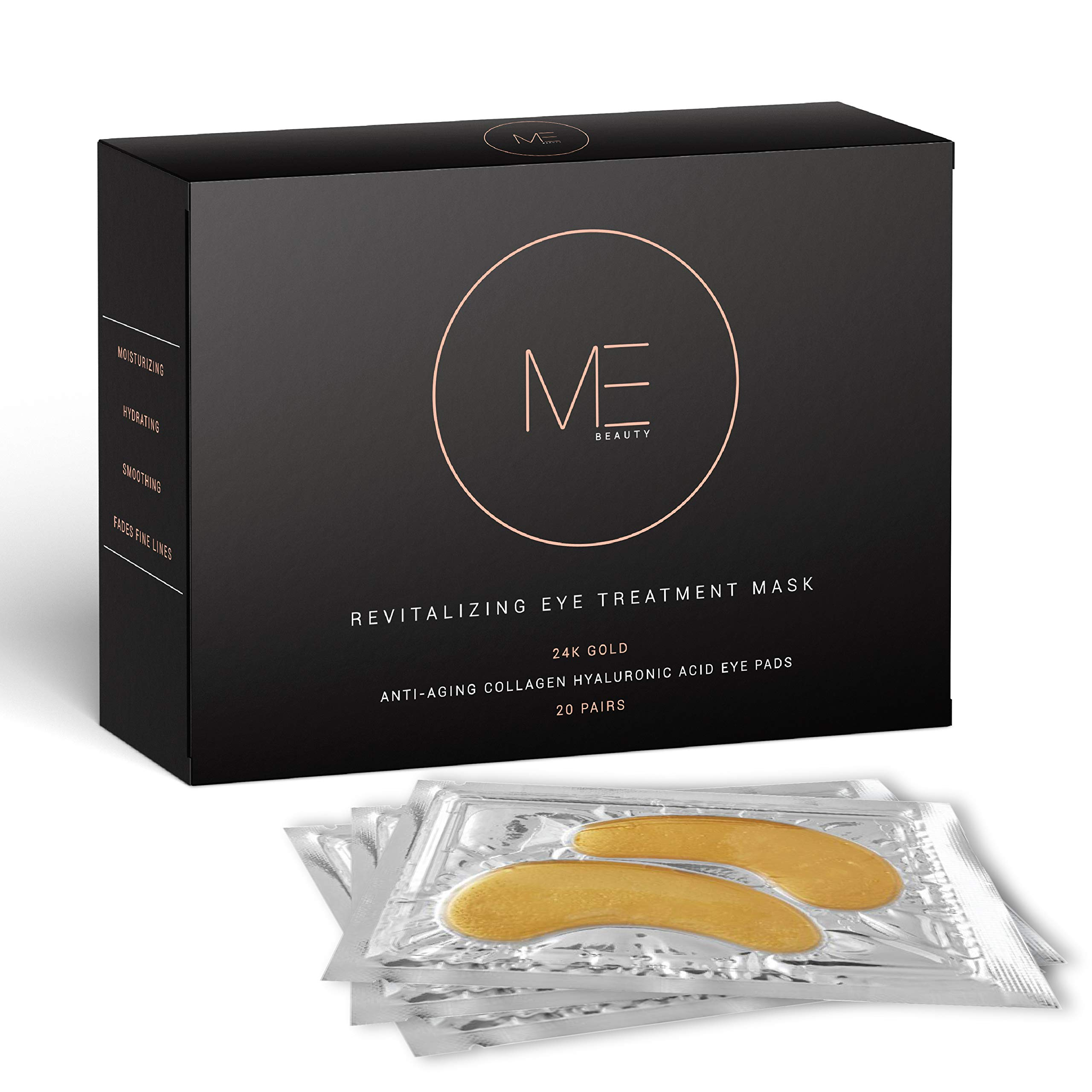 ME Beauty - 24k Gold Under Eye Collagen Mask, All Natural, Moisturizing, Anti Aging Gold Eye Patches - Reduces Puffiness, Wrinkles, Bags, and Dark Circles For Men and Women (20 Pairs) by MIND · BODY · SOUL