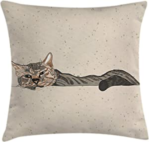 """Ambesonne Cat Throw Pillow Cushion Cover, Lazy Sleepy Cat in Earth Tones Furry Mascot Indoor Pet Art Illustration, Decorative Square Accent Pillow Case, 26"""" X 26"""", Tan Dimgrey"""