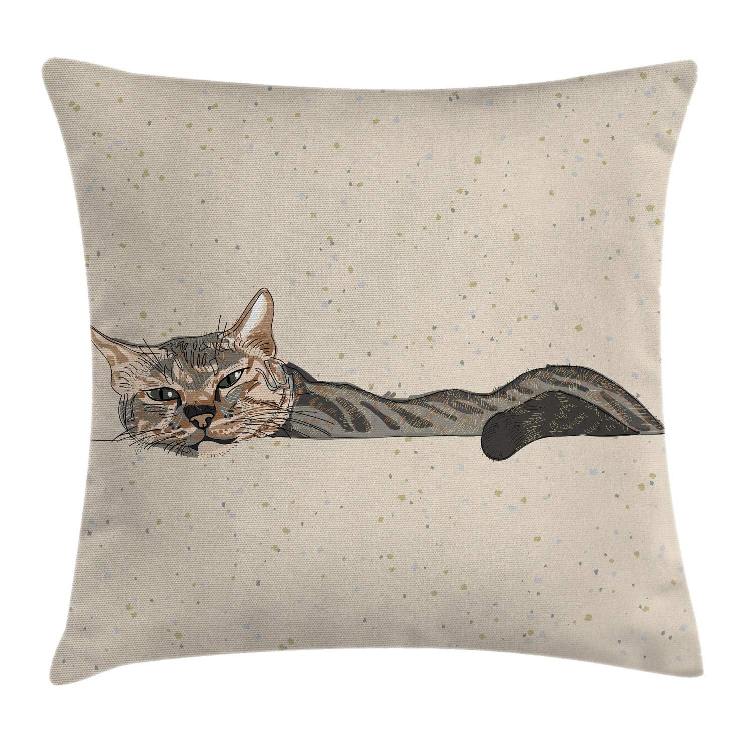 Ambesonne Cat Throw Pillow Cushion Cover, Lazy Sleepy Cat in Earth Tones Furry Mascot Indoor Pet Art Illustration, Decorative Square Accent Pillow Case, 18'' X 18'', Tan Dimgrey by Ambesonne