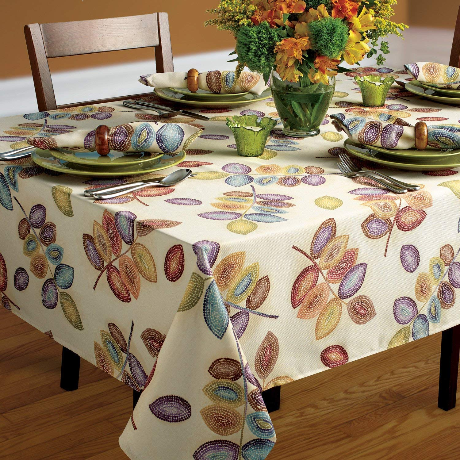 Croscill Mosaic Tree Leaves Fabric Tablecloth 60 Inch X 120 Home Kitchen Dining