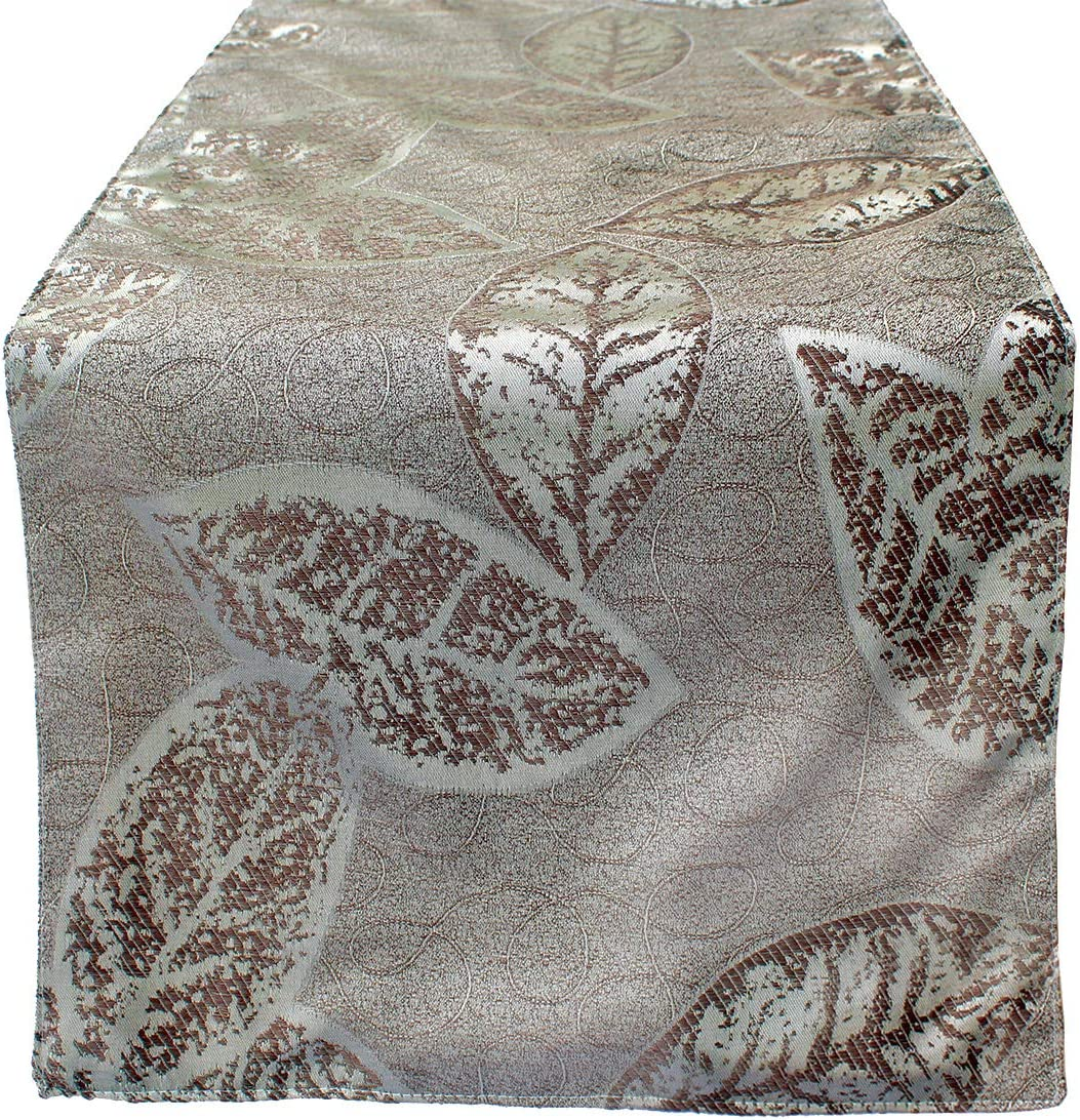 OLYPHAN 72 Table Runner Dining Elegant Fall Leaf Pattern Beige/Gold/Cream/Sand/Off White – Glam Thanksgiving Dinner, Spring Decoration, Christmas Décor & Easter Holiday Party Decorations 13 x 72 Inch