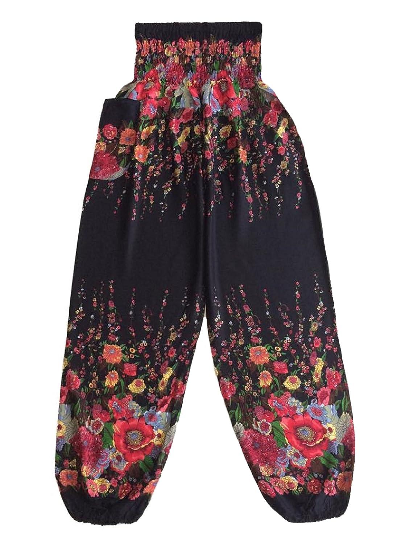 Love Quality Black Flower Harem Pants One Size