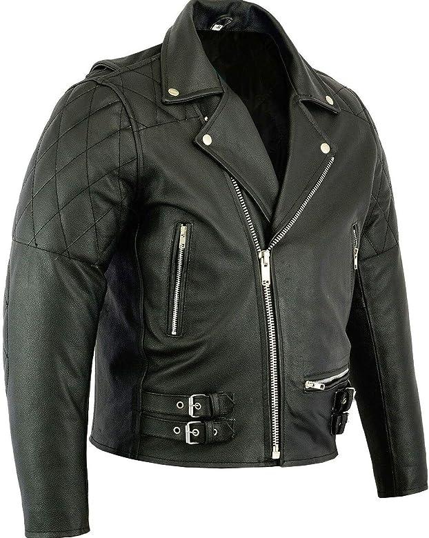 Leather Motorcycle Biker Jacket Black Skintan Childrens Kids Brando