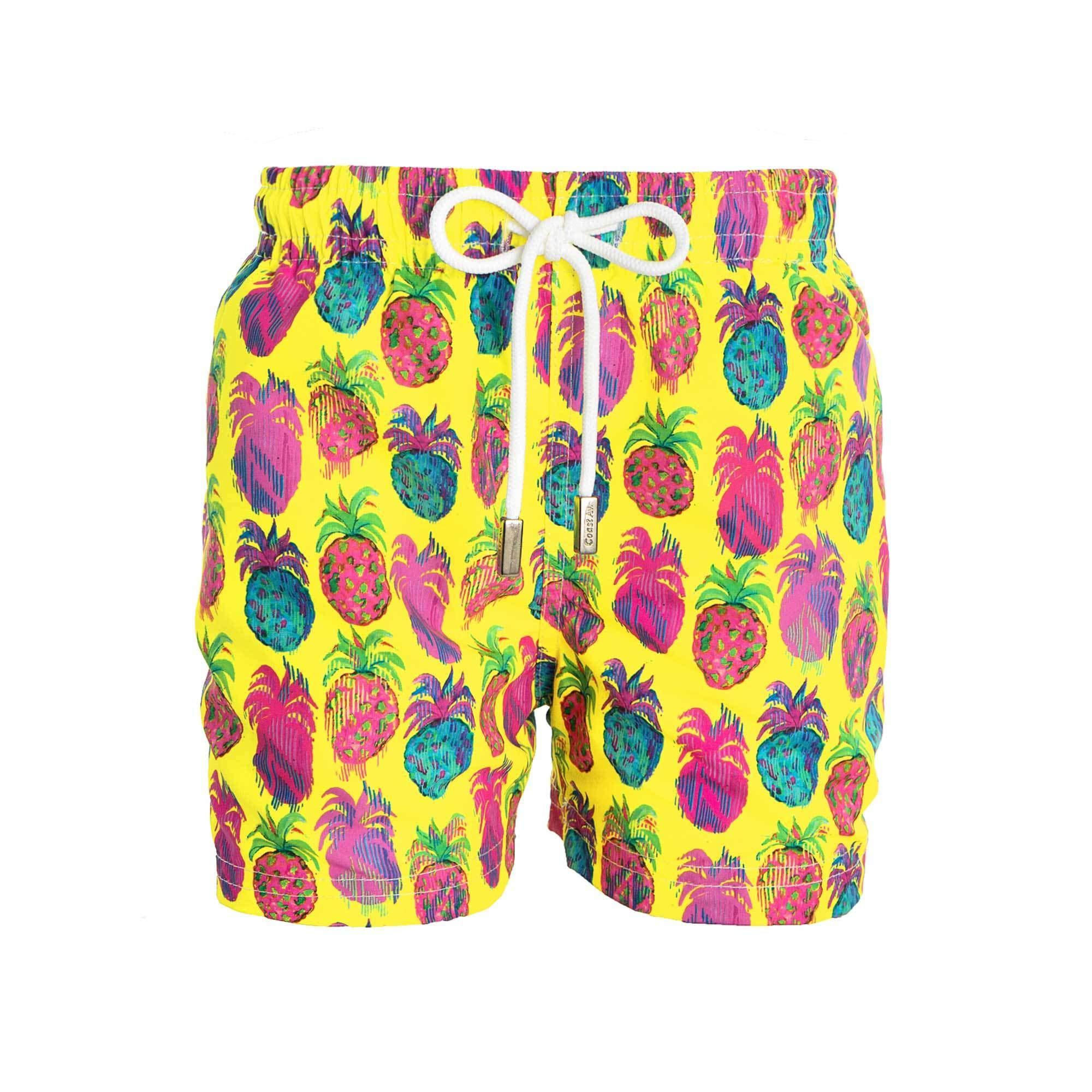 98 Coast Av. Colorful Print Collection Kids Boys' Premium Swimsuit Quick Dry Beach Trunks (L, Pineapples)