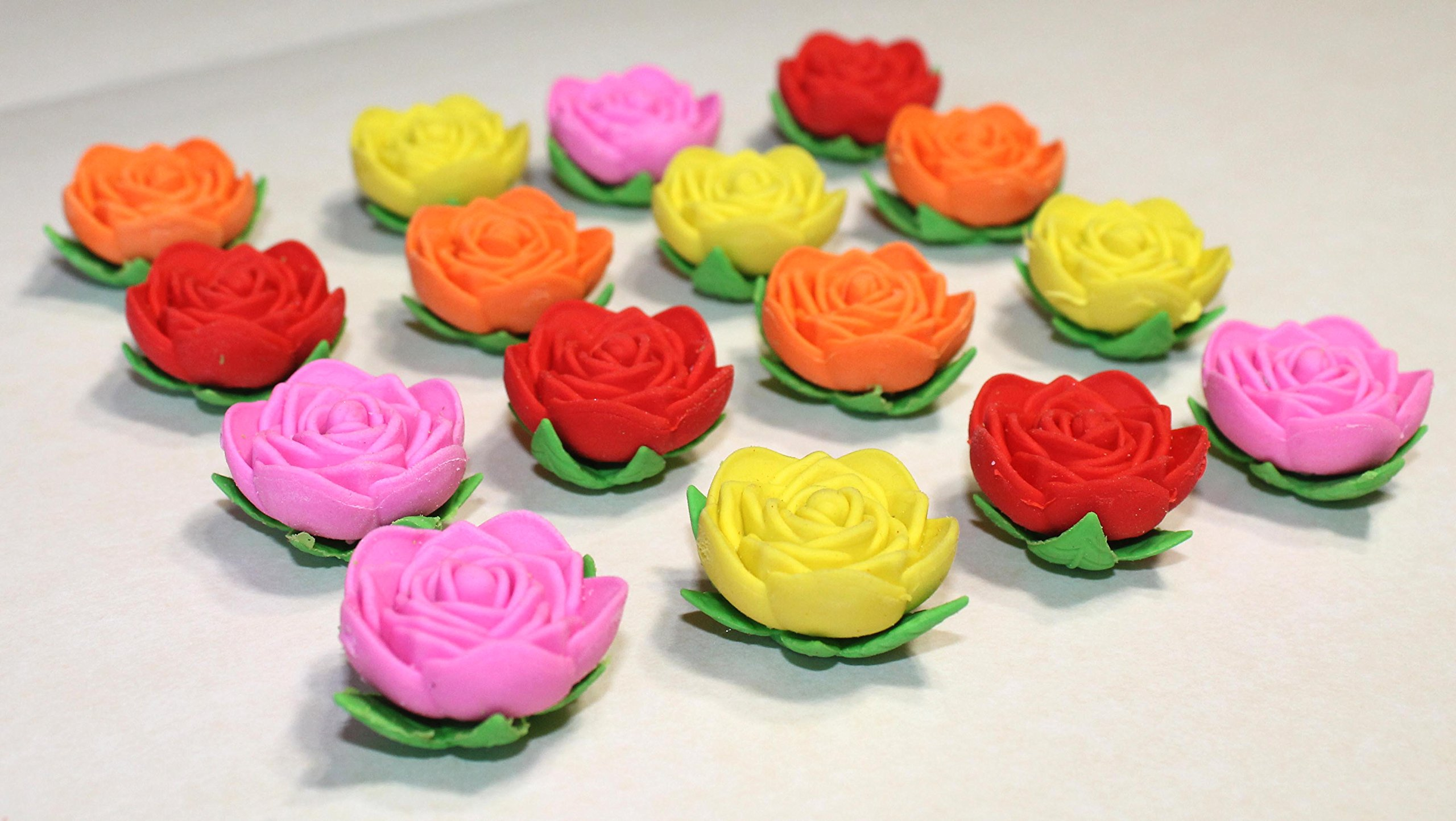 Lucore Rose Pencil Top Erasers - 16 pcs Colorful Flower Shaped Kids Pen Cap Toppers by Lucore Home (Image #3)