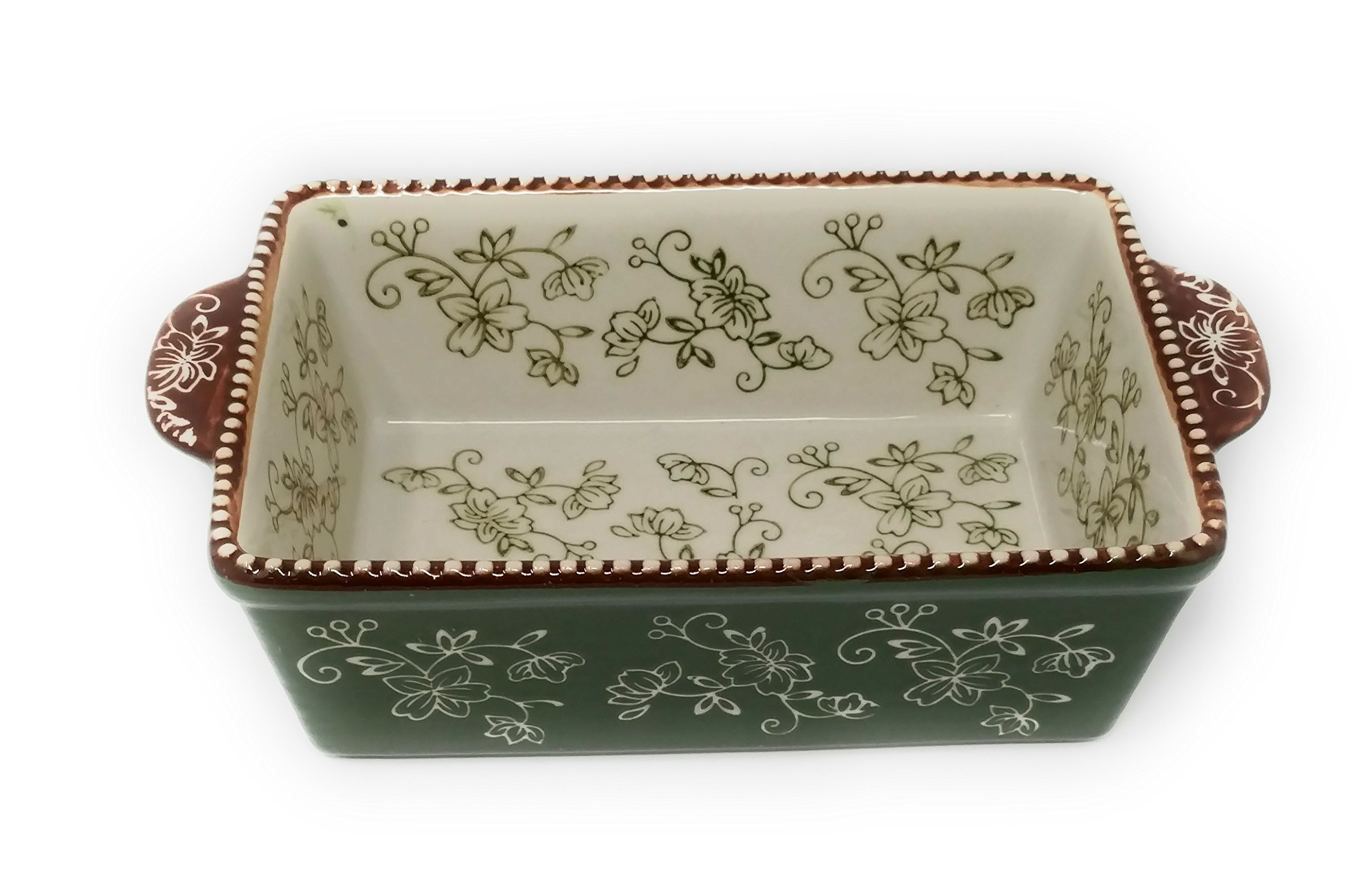 Temp-tations 1.5 Qt Loaf Pan for Meat Loafs or Breads, (Floral Lace Green)