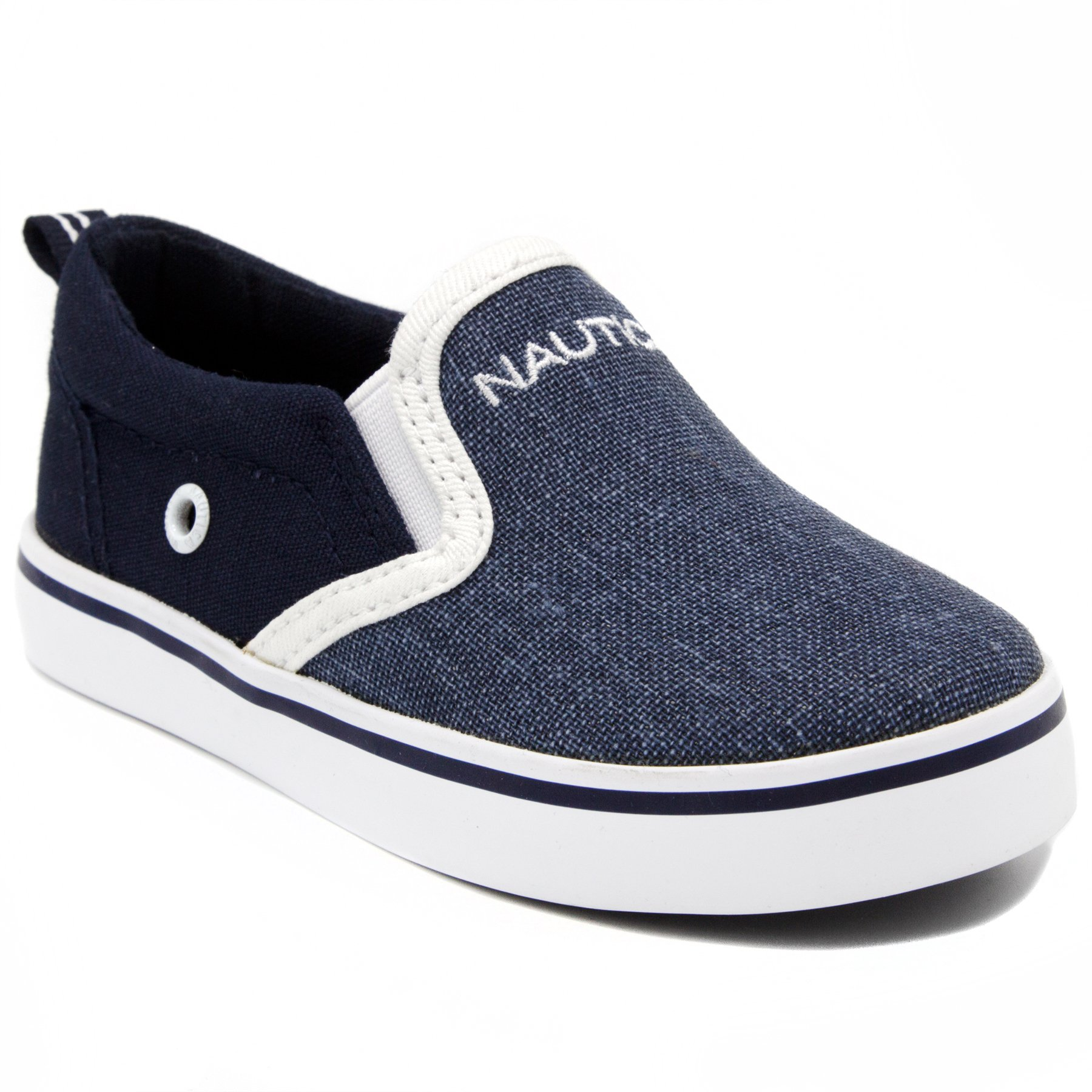 Nautica Akeley Toddler Canvas Sneaker Slip-On Casual Shoes-Navy Mix-10