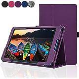 ACdream Lenovo TAB3 8 Case, Folio Protective Premium Leather Tablet Case for Lenovo TAB3 8 inch Tablet(2016 release), Dark Purple