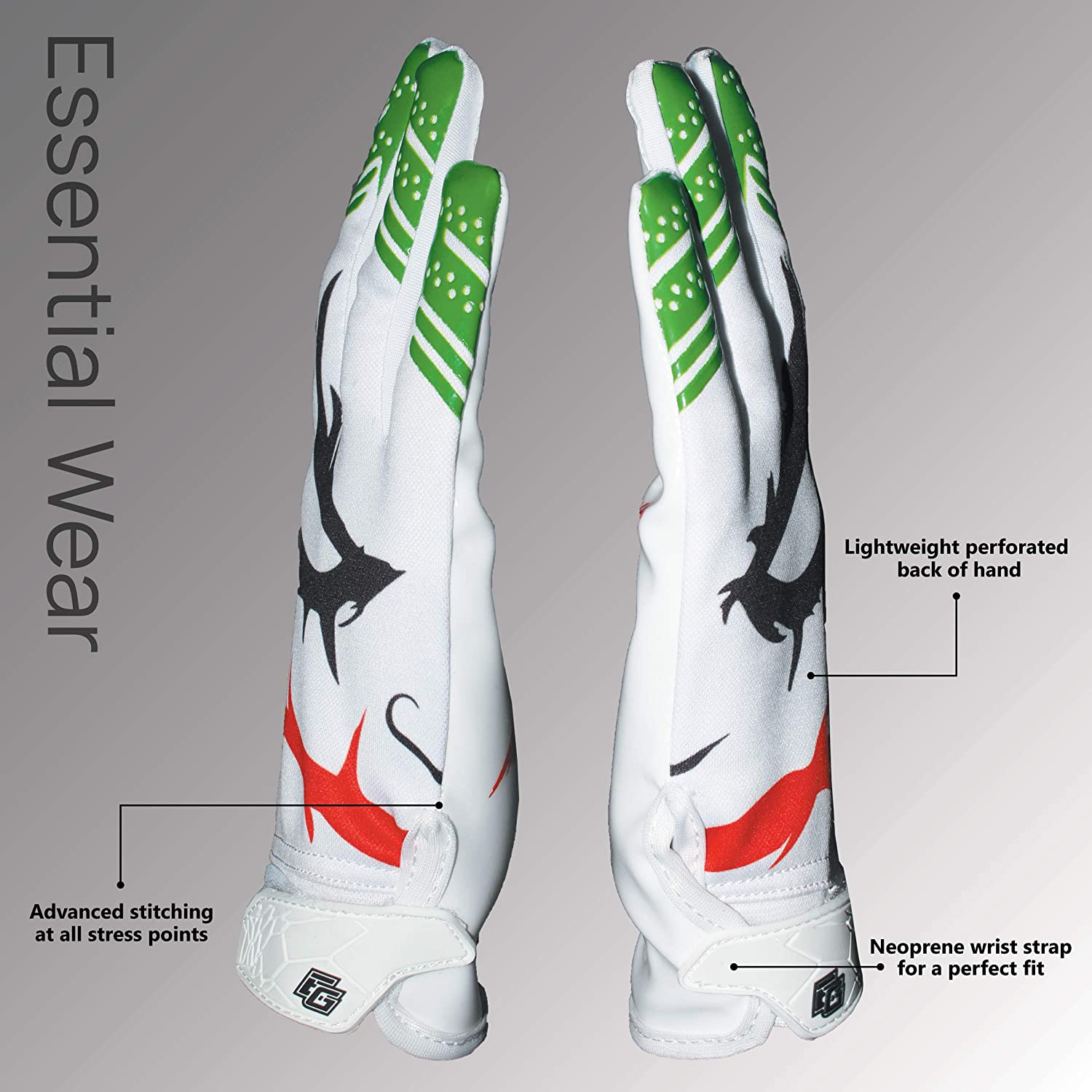 Essential Wear Football Gloves Men /& Women Performance Enhancer Adult Receiver Gloves with Super Tacky Grip for Ultimate Game Experience Adult Sizes Smiley Jester White Football Gloves