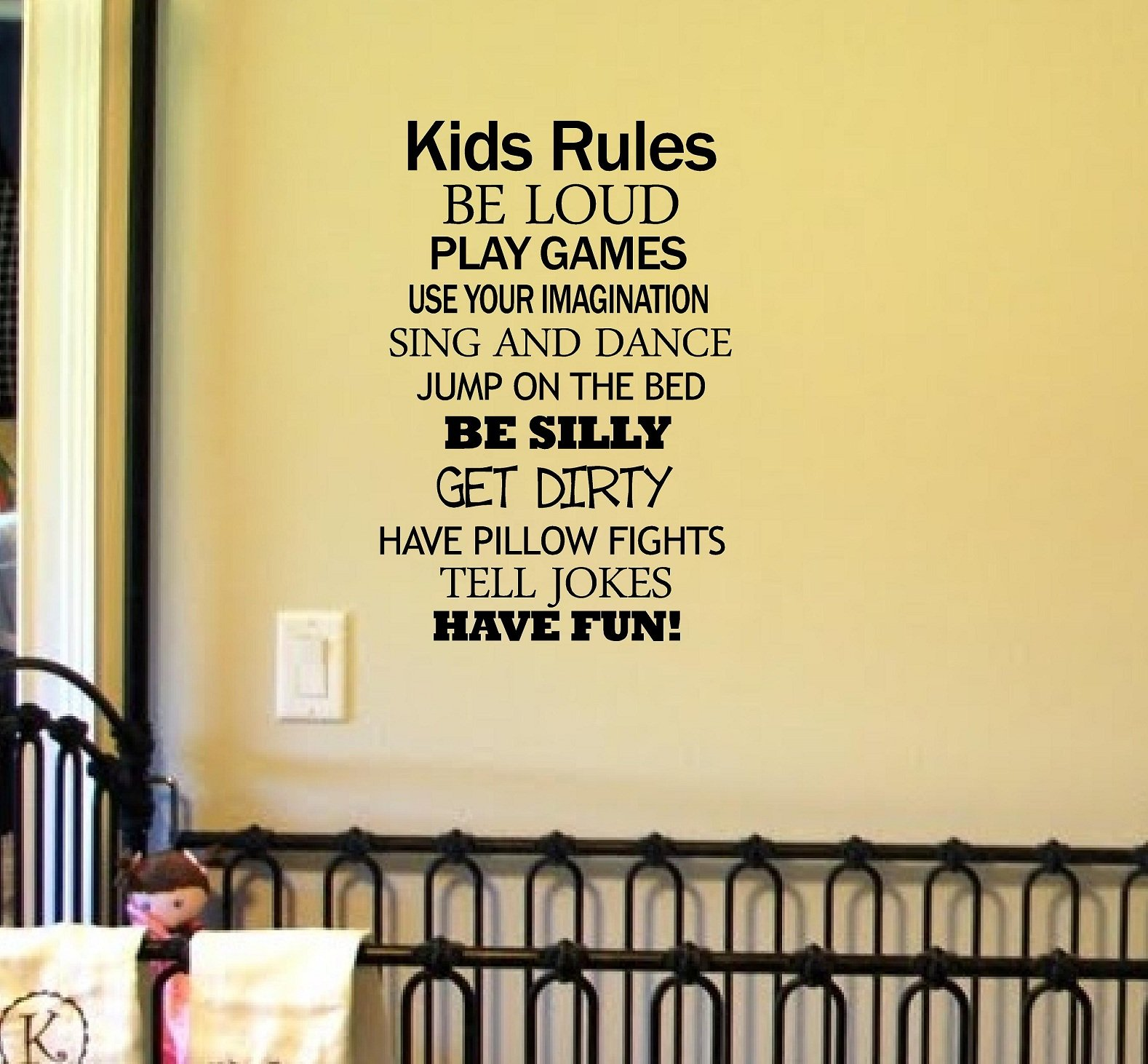 Kids Rules Be Loud Play Games Use Your Imagination Sing and Dance Jump on the Bed Be Silly Get Dirty Have Pillow Fights Tell Jokes Have Fun! Vinyl Car Sticker Symbol Silhouette Keypad Track Pad Decal Laptop Skin Ipad Macbook Window Truck Motorcycle