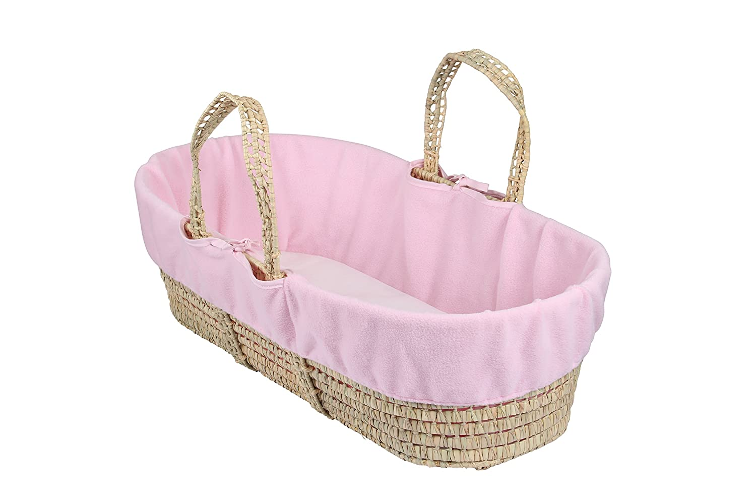Clair de Lune Fleece Liner/Dressing for Moses/Wicker Basket (Pink) CL5533P
