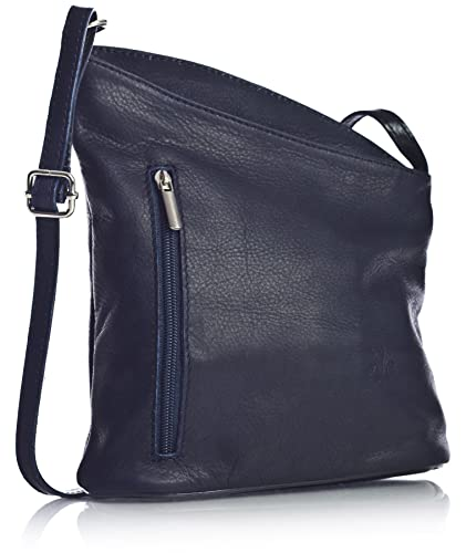 92f0d0ccb264 Big Handbag Shop Womens Small Genuine Soft Venenzi Italian Leather Cross  Body Bag - Navy