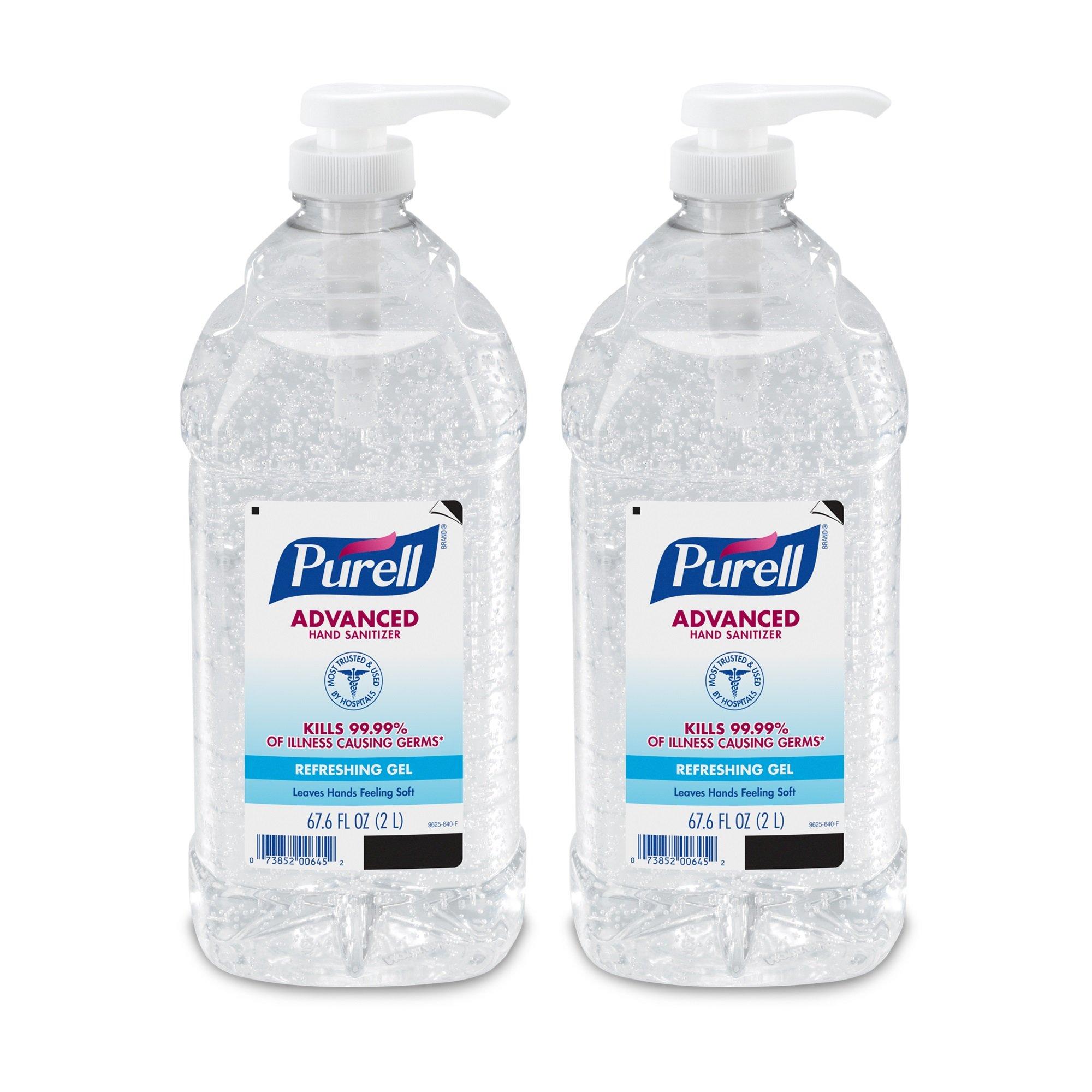 PURELL 9625-02-EC Advanced Hand Sanitizer Bottle - Hand Sanitizer Gel, 2L Pump Bottle (pack of 2)