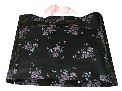 Amazon.com: 50 piezas negro mercancía bolsas con asas con ...