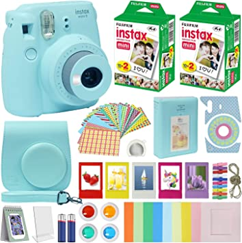 Fuji Instax Mini 9 Instant Camera Ice Blue W Case Fuji Instax Film Value Pack 40 Sheets For Fujifilm Instax Mini 9 Camera Accessories Color Filters Photo Album Selfie