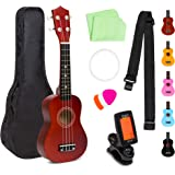 Best Choice Products 21in Acoustic Soprano Basswood Ukulele Starter Kit w/Nylon Carrying Gig Bag, Strap, Colorful Picks, Poli