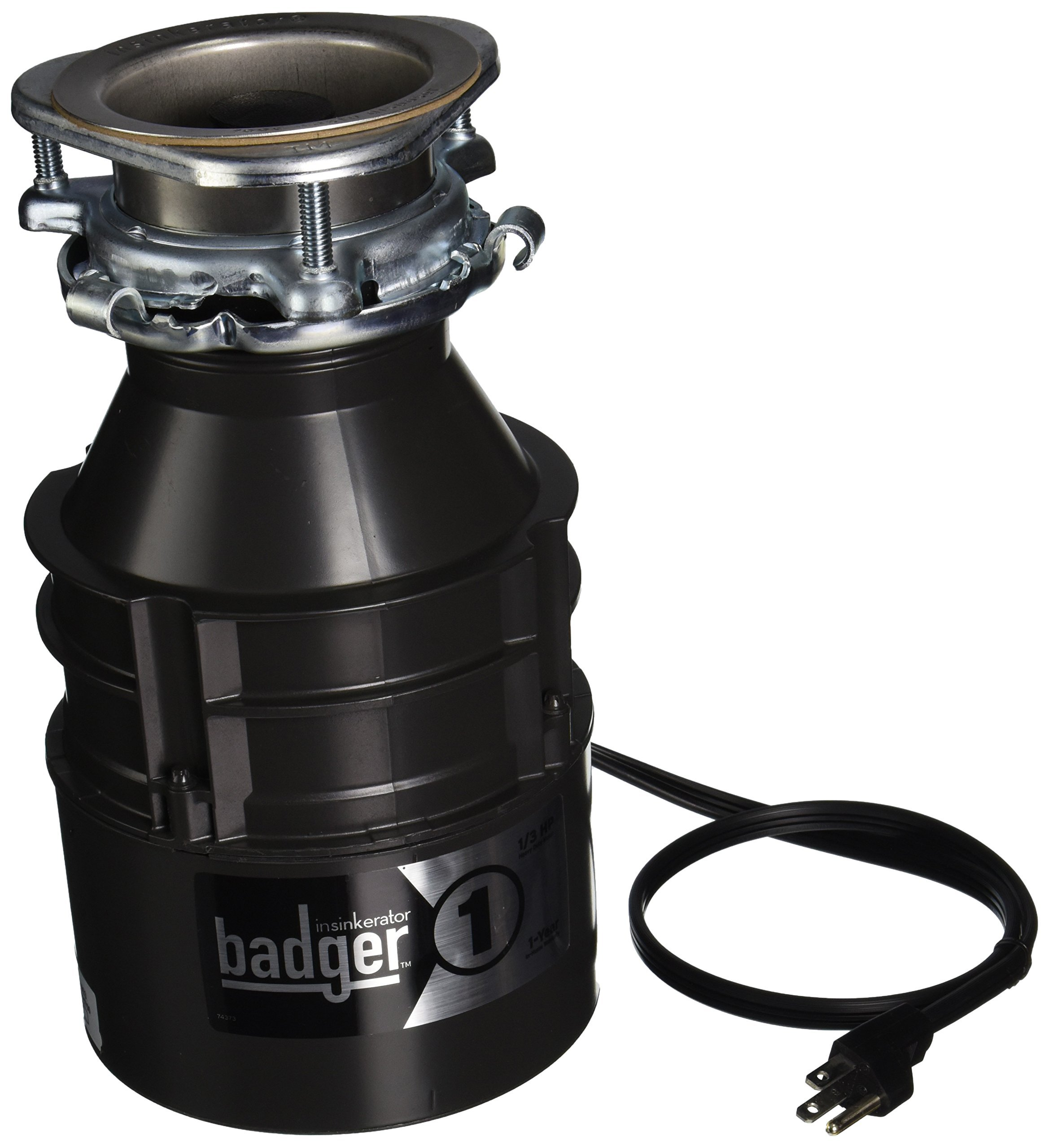 Insinkerator BADGER1CORD Household Food Waste Disposer with Cord, 1/3 Horsepower, Grey (Renewed)