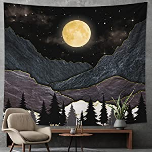 DESIHOM Black Mountain Tapestry Moon and Star Tapestry Tree Nature Tapestry Landscape Tapestry Wall Tapestry for Bedroom Living Room Dorm Decor 59x51 Inch