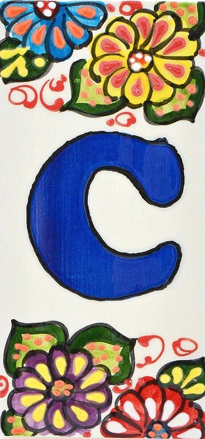 Handgemalte Kordeltechnik fuer Schilder mit Namen BUCHSTABENL Adressen und Wegweisern Design FLORES MINI 7,3 cm x 3,5 cm Schilder mit Zahlen und Nummern auf Keramikkachel