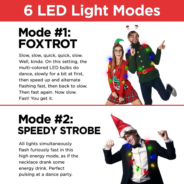 Windy City Novelties Original LED Light Up Christmas Bulb Necklace Party Favors Ugly Xmas Party (1 Pack)