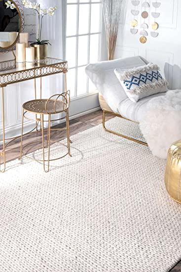 Amazon Com Contemporary Area Rugs Off White Large 9x12 Braided Area