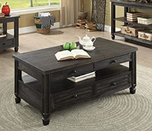 Furniture of America Suzette Coffee Table, Antique Black