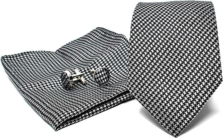 Corbata de hombre, Pañuelo de Bolsillo y Gemelos Negro a Pata de Gallo - 100% Seda - Clásico, Elegante y Moderno - (Caja y Conjunto de Regalo, ideal ...
