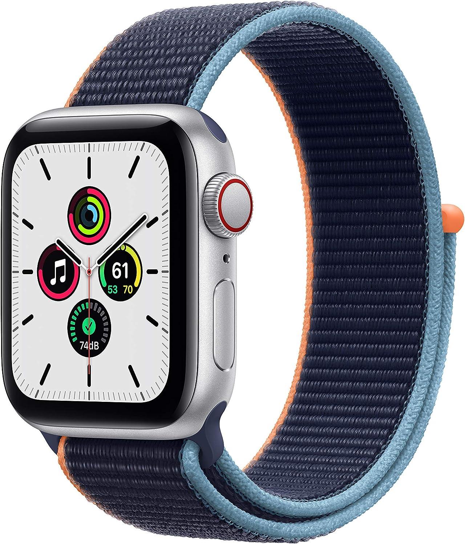 Apple Watch SE (GPS + Cellular, 40mm) - Silver Aluminum Case with Deep Navy Sport Loop (Renewed)
