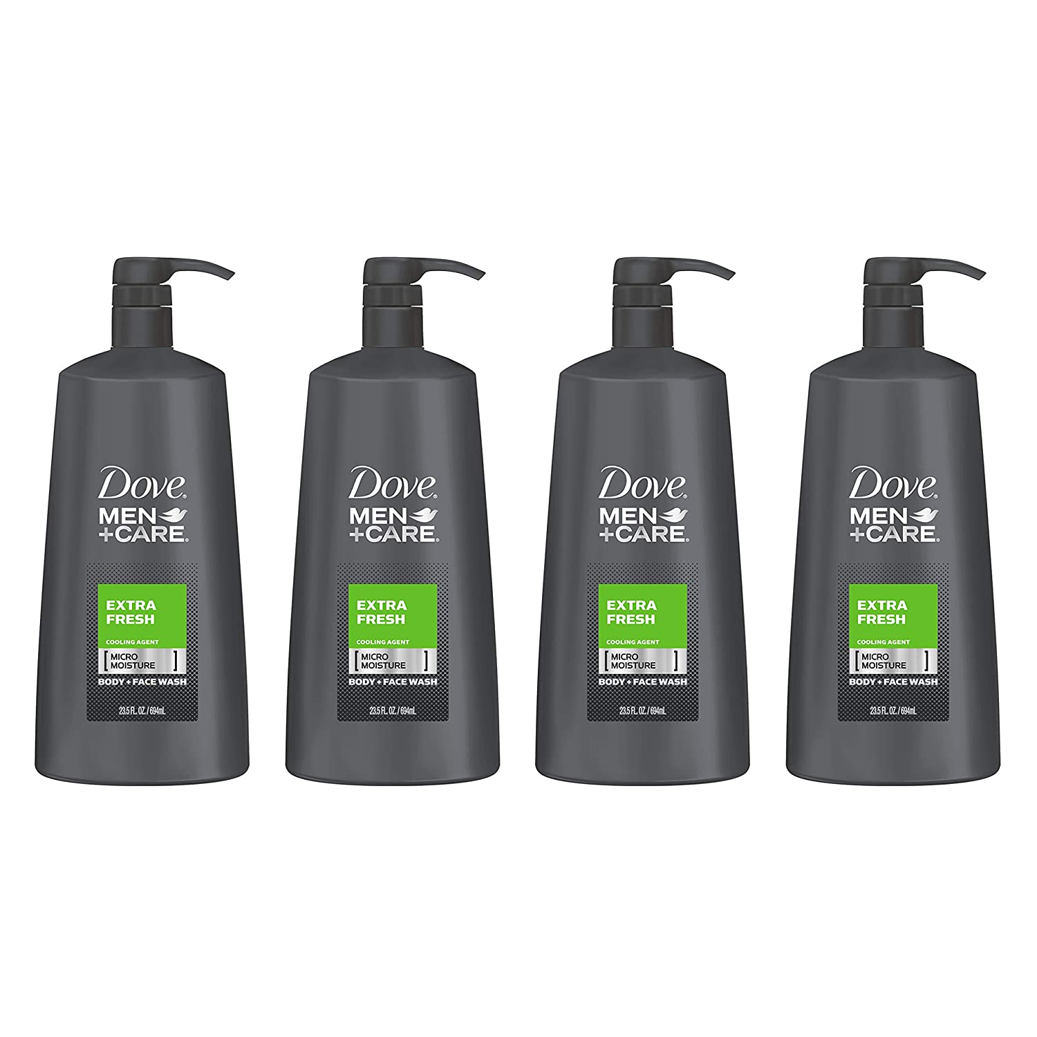 Dove Men+Care Body and Face Wash, Extra Fresh, 23.5 Fl Oz (Pack of 4)