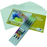 """Brustro Aqua Squeeze Leak Proof Watercolor Brush Pen Round - Assorted ( Set of 3 ) Small ,Medium & Large Tips , Free Brustro Watercolour Paper 25% Cotton CP 200 GSM 5"""" X 7"""" (Contains 9 Sheets) Worth Rs. 69"""